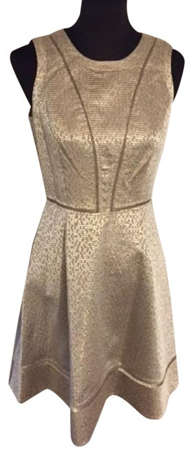 Item - Gold W Sequin W/Ribbon Trim Throughout Short Cocktail Dress Size 6 (S)