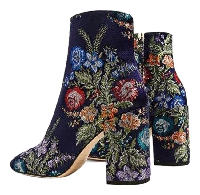Item - Blue Embroidered Brocade Floral Ankle Boots/Booties Size EU 37 (Approx. US 7) Regular (M, B)