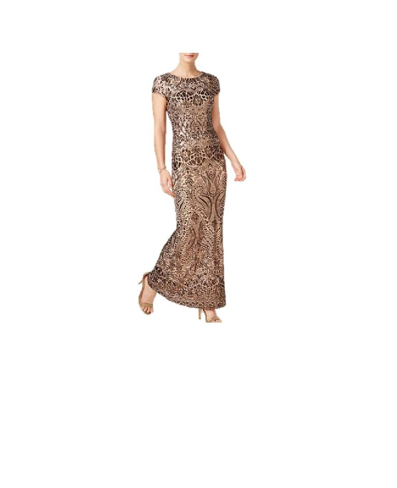 269aa1fda09f Betsy   Adam Gold Women s Cap Sleeve Sequin Gown Long Cocktail Dress ...