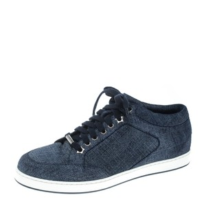 Jimmy Choo Denim Texture Suede Rubber Leather Blue Flats