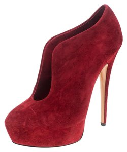 Casadei Suede Ankle Leather Red Boots