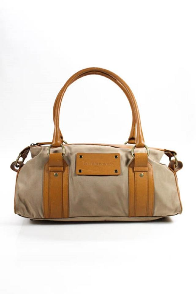 224d5b626cfc Burberry Lots Of Pockets Lining Style Mint Condition Canvas Leather Body  Satchel in camel leather ...
