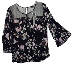Unique Spectrum Tops Flower Print Blouse Sheer Tops Blouses Long Sleeve Tunic