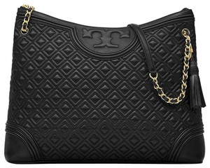 Tory Burch Fleming Fleming Fleming Lambskin Tote in Black