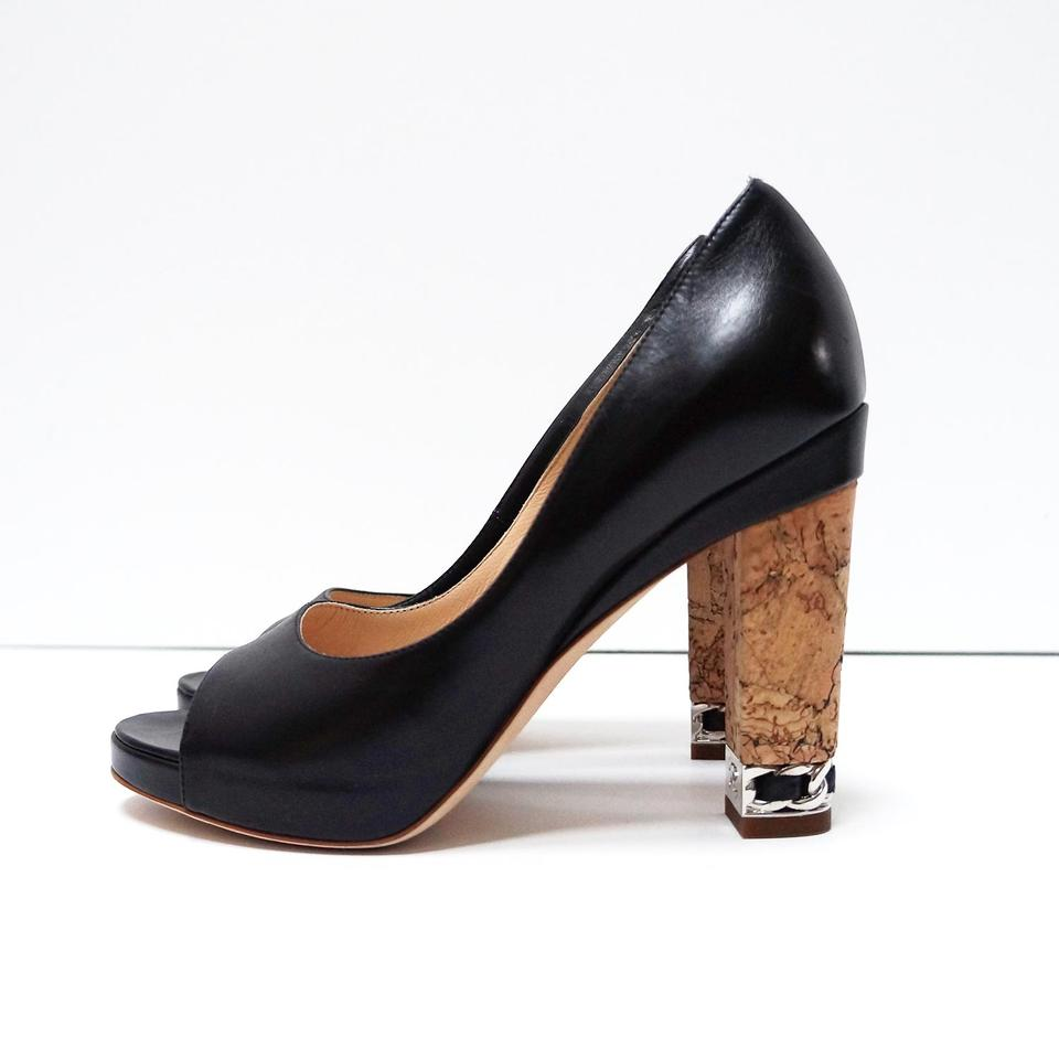 9781b0efdcb3 Chanel Black Peep Toe Cork Heel with Chain Accent Pumps Size EU 36 (Approx.  US 6) Regular (M