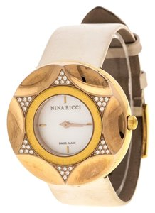 Nina Ricci White Mother Of Pearl Gold Plated Steel Diamonds N024.83 Wo