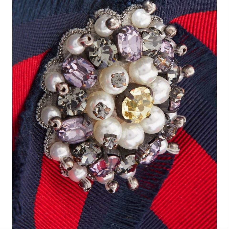 02624180485 Gucci grosgrain web bow with crystal pearl brooch Image 3. 1234