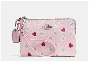 Coach Gift Idea Hearts Wristlet in Pink/Red/Silver/Grey/White