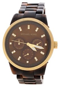 Michael Kors Brown Mother of Pearl Tortoise Shell Acrylic Gold Plated Steel Jet Set