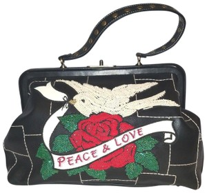Isabella Fiore Beaded Ebbroidered Leather Peace And Love Satchel in Black