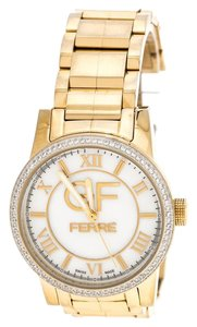 Gianfranco Ferre White Mother of Pearl Gold Plated Stainless Steel