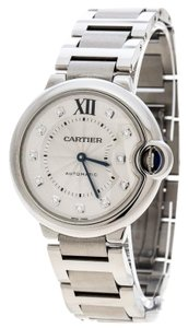 Cartier Silver Stainless Steel Ballon Bleu Diamonds 3284 Women's Wristwatch 36