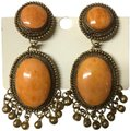 Franchi orange gold flecked large clip earrings with Brooch matching