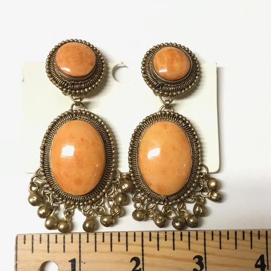 Franchi orange gold flecked large clip earrings with Brooch matching Image 1