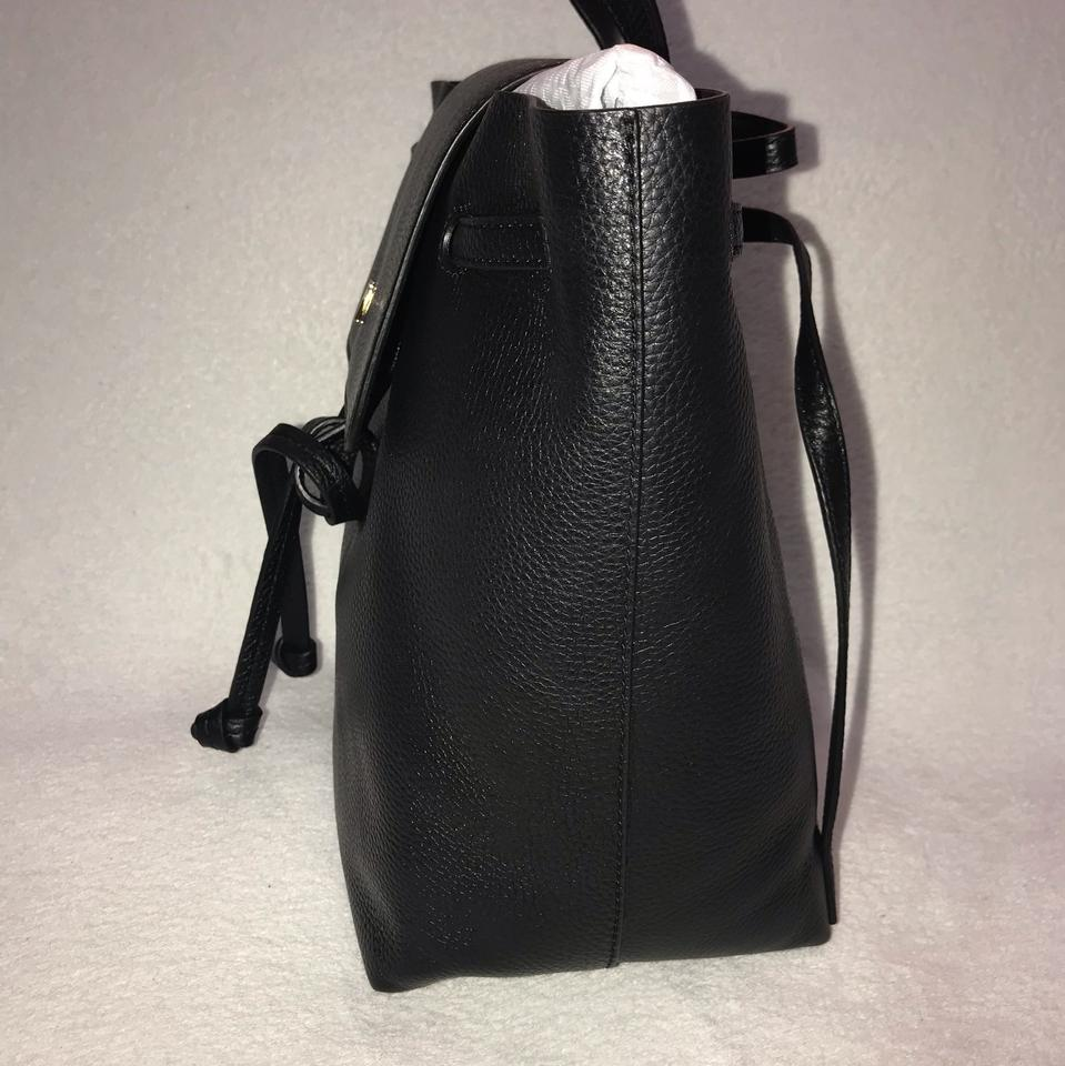 be4d0381120c Michael Kors Junie Medium Flap Black Leather Backpack - Tradesy