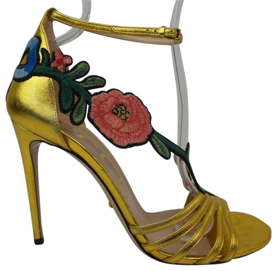 2b288f0fbe1 Gucci Gold Ophelia Floral Women s Embroidered Heels Women s Sandals ...