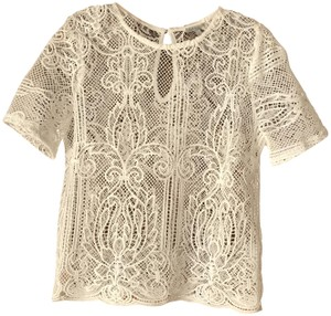 Charlotte Russe Sheer Polyester Pullover Style Scalloped Hemline Top White Lace