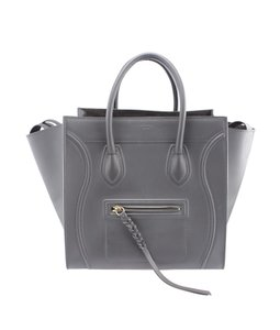 Céline Leather Suede Tote in Grey