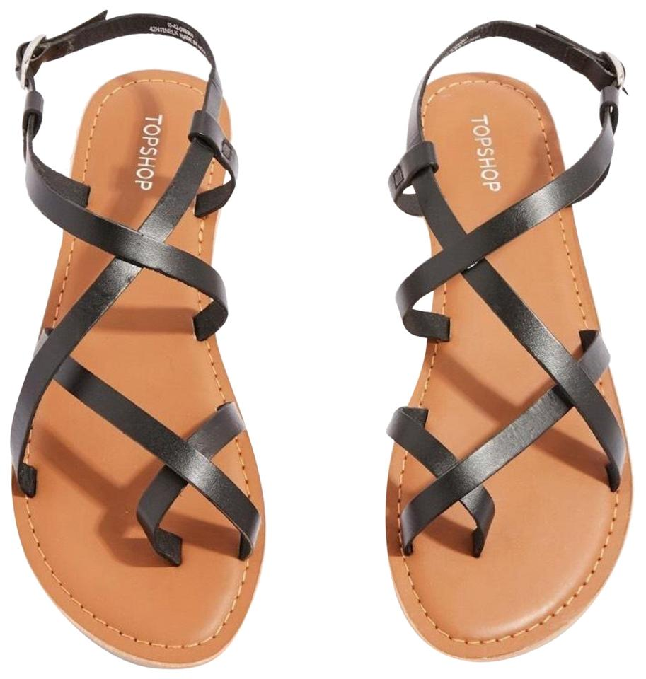 1f22425424b9 Topshop Black Leather Hiccup Strappy Sandals Size EU 38 (Approx. US ...