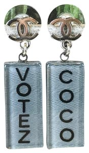 Chanel Chanel Gray Resin Coco Votez CC Logo Silver Drop Pierced Earrings