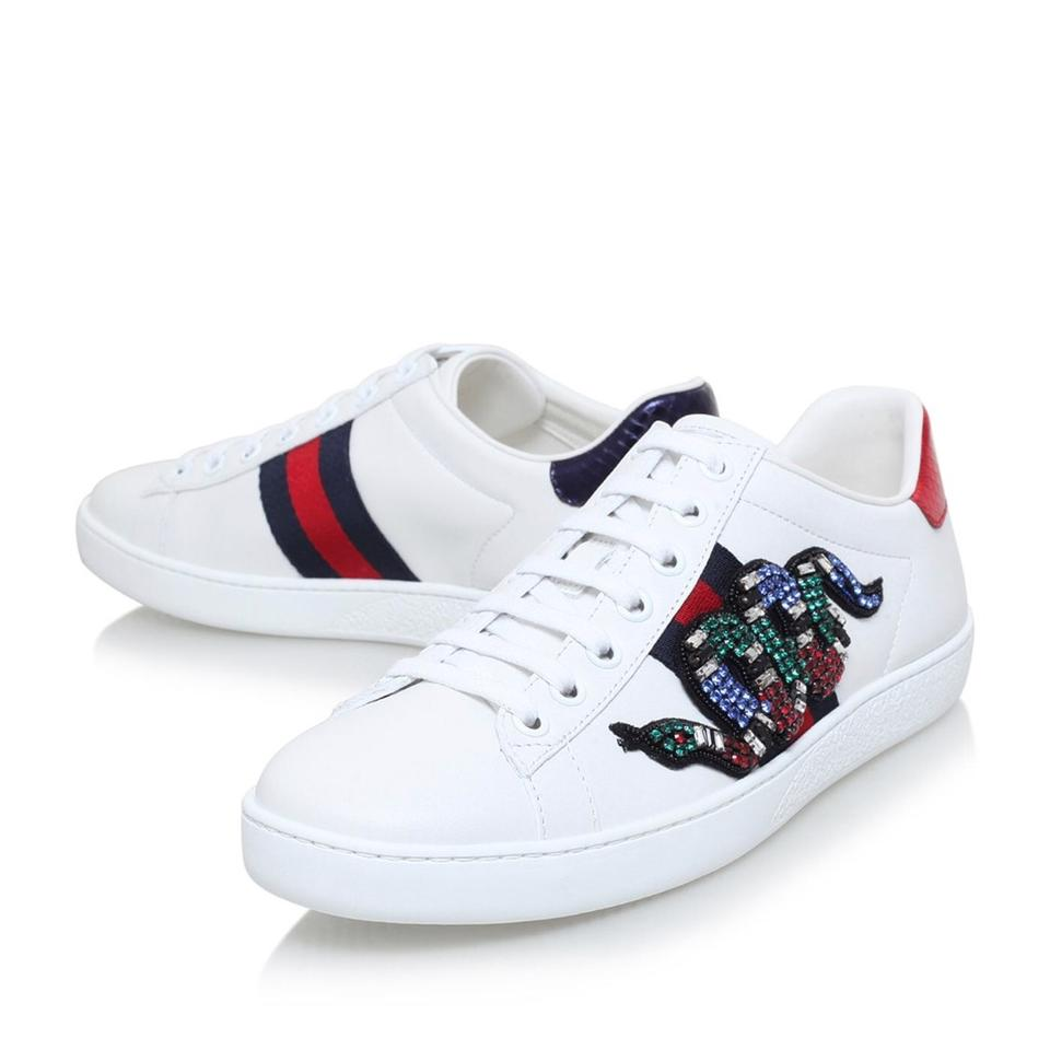 2b325689c496 Gucci White Multi New Ace Snake Embellished Sneakers Sneakers Size ...