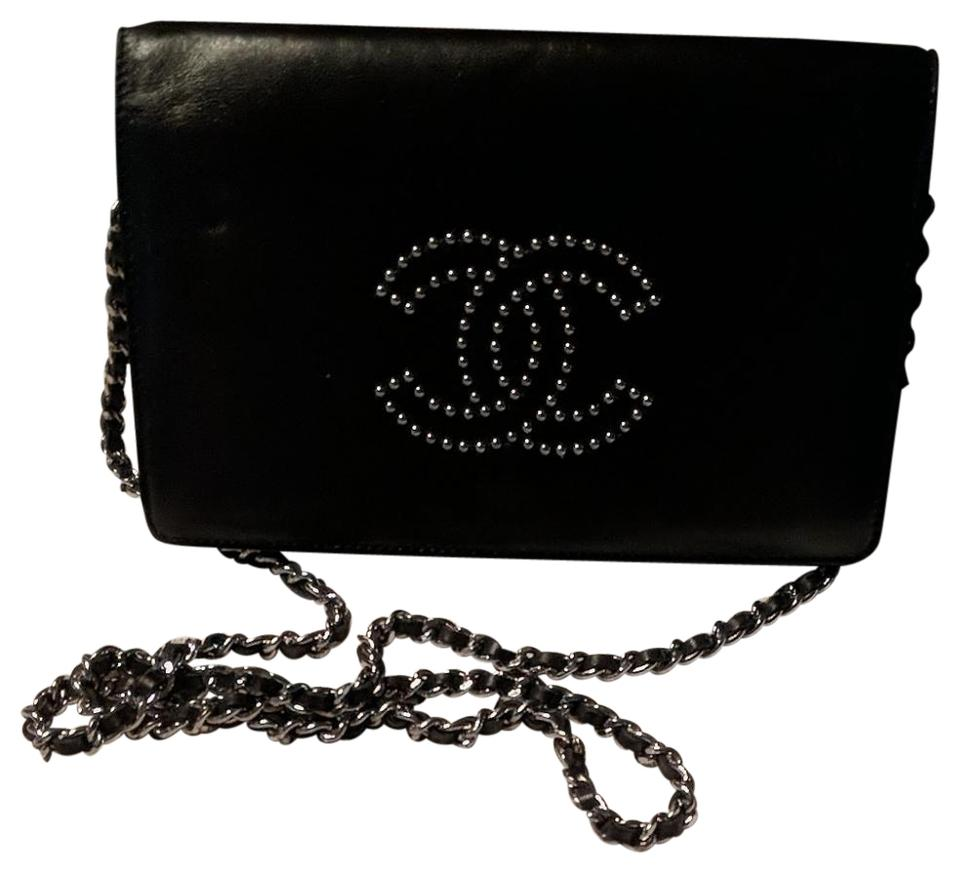 ddbb3779e191 Chanel Wallet on Chain Studded Shoulder Black Leather Cross Body Bag ...