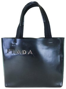 Prada Cut Out Logo Leather Tote in Black