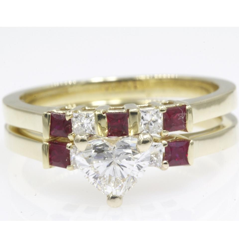 18k Yellow Gold 109 Carat Heart Shape Set With Red Ruby Engagement Ring: Ruby Wedding Ring Set 18k At Reisefeber.org