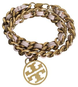 Tory Burch metallic leather and chain double wrap bracelet