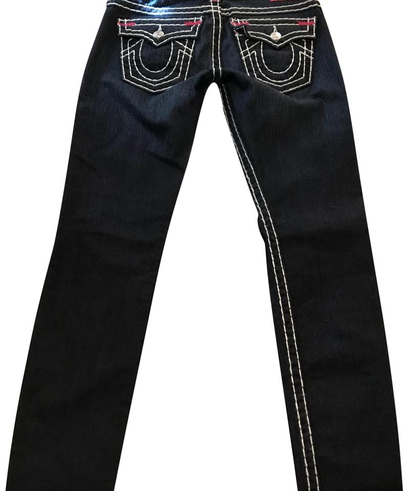 37dc4c39bf6a0 True Religion Blue Trimmed In Pink Dark Rinse Skinny Jeans Size 4 (S ...