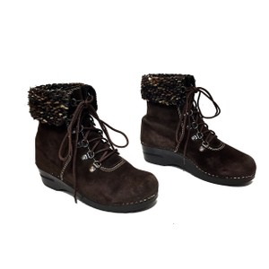 Dansko Suede Knit Lace-up Comfortable Dark Brown Boots