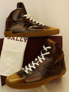 Bally Brown Eroy Cuir Brushed Leather Logo Hi Top Lace Up Sneakers 14 D Us 47 Shoes