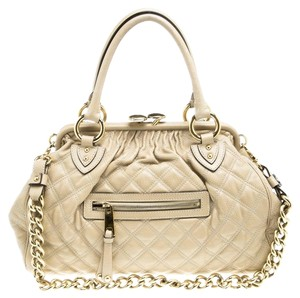 Marc Jacobs Leather Fabric Quilted Satchel in Beige