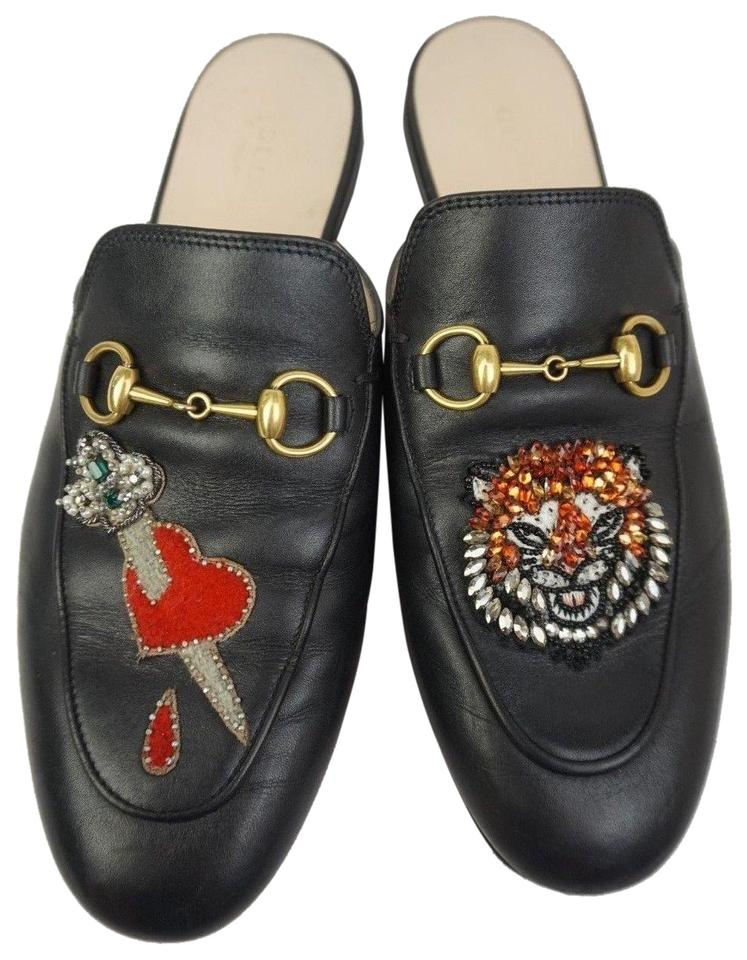 a6bfb6aaf01 Gucci Black Princetown Crystal Sword Heart Tiger Loafer Women s ...