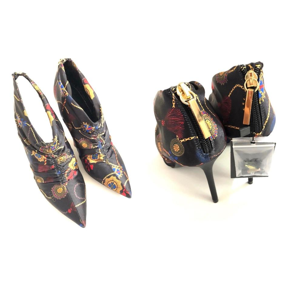 cea5f60ee4d Zara Black Oriental Asian Crown Gold Chain Bow Ruched Pointed Silk Heels  Pumps Size US 6.5 Regular (M