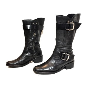 Vera Wang Lavender Label Leather Midcalf Silver Hardware Buckles Black Boots