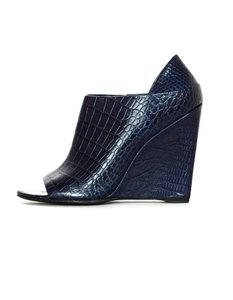 Alexander Wang Peep Toe Embossed Crocodile Navy Wedges