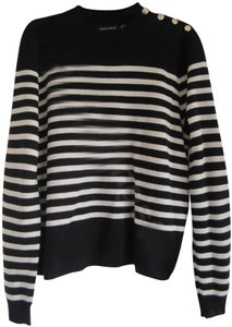 Ivanka Trump Striped Nautical Style Shoulder Buttons Ribbed Trim Long Sleeves Sweater