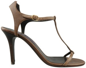Ralph Lauren Collection Leather Strap Ankle Brown Sandals