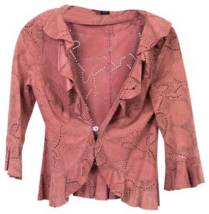 THE WRIGHTS Suede Cutouts Etched Fitted Pink Leather Jacket