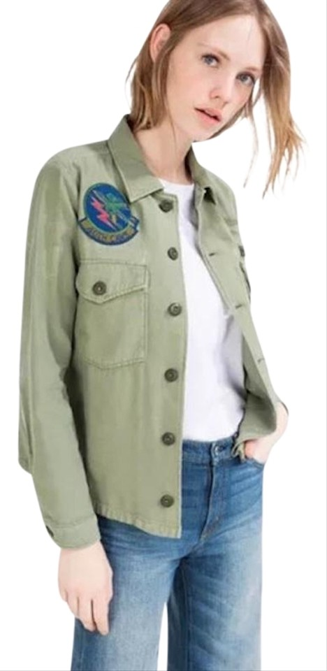 1633213345 Zara Green New Premium Denim Zw Overshirt Vintage Military Look Patches Xs  Button-down Top