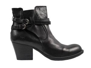 Børn Concept Pebbled Leather Ankle Moto Buckle Black Boots