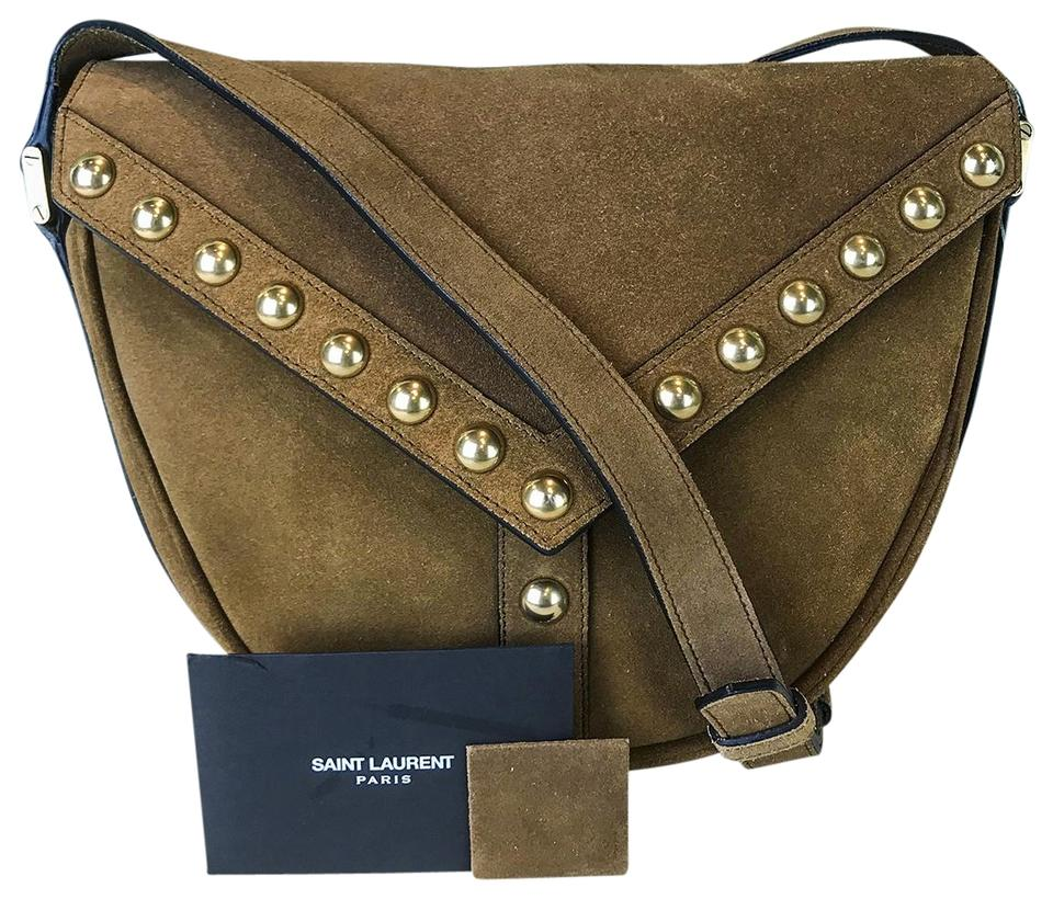 Saint Laurent Y Studs Besace Brown Suede Leather Cross Body Bag ... 5fa7760351577