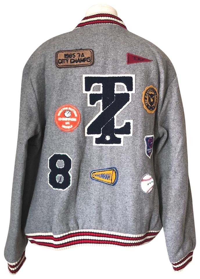 262280e77 Zara Gray L New Trf Wool Blend Letterman College Patches Jacket Size 12 (L)