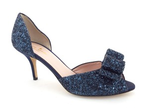 fd3841720af3 Kate Spade D orsay Cut Sela Crystal Peep Toe Bows Sea Blue Pumps