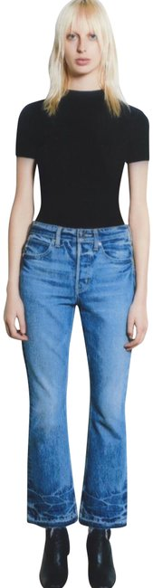 Item - Light Blue Tacked Crop Flare Leg Jeans Size 2 (XS, 26)