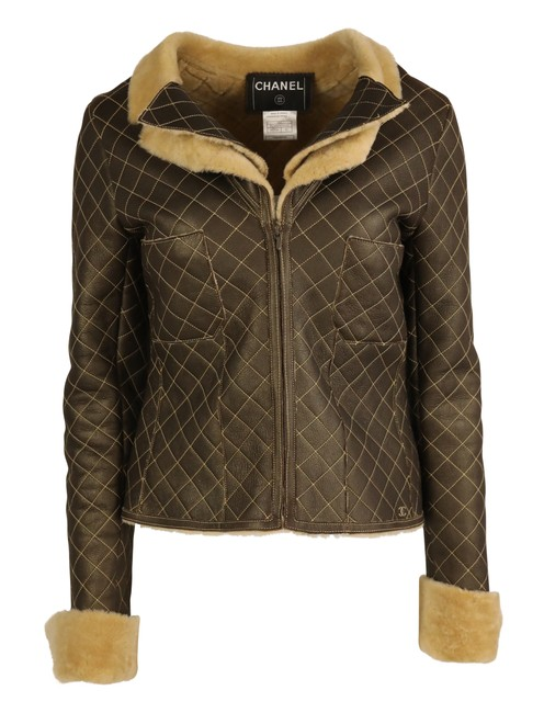 Item - Brown Quilted Leather-shearling Jacket Size 6 (S)