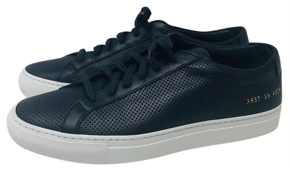 160e26099cc35 Common Projects Navy Blue Perforated Achilles Sneakers Sneakers Size ...