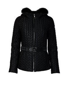 Post Card Fur Nylon Belted Quilted Coat