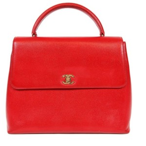 Chanel Classic Flap Lipstick Red Kelly Top Handle Bag